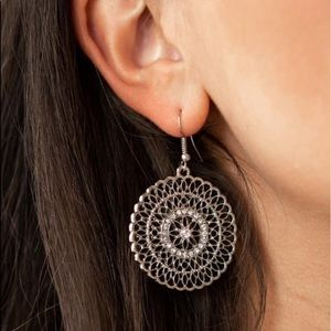Spoil Me Silver Circle Dangle Earrings NWT